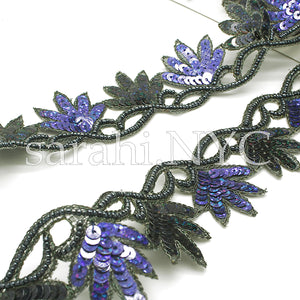 BLACK BLUE FLORAL EDGING SEQUIN BEADED TRIM - sarahi.NYC - Sarahi.NYC