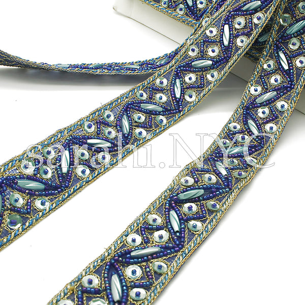 BLUE TURQUOISE SEQUIN BEADED TRIM - sarahi.NYC - Sarahi.NYC