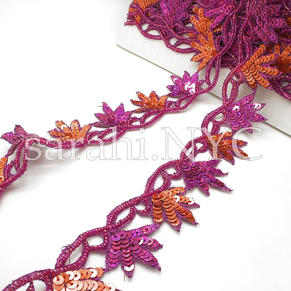 PINK ORANGE FLORAL SEQUIN BEADED EDGING TRIM - sarahi.NYC - Sarahi.NYC