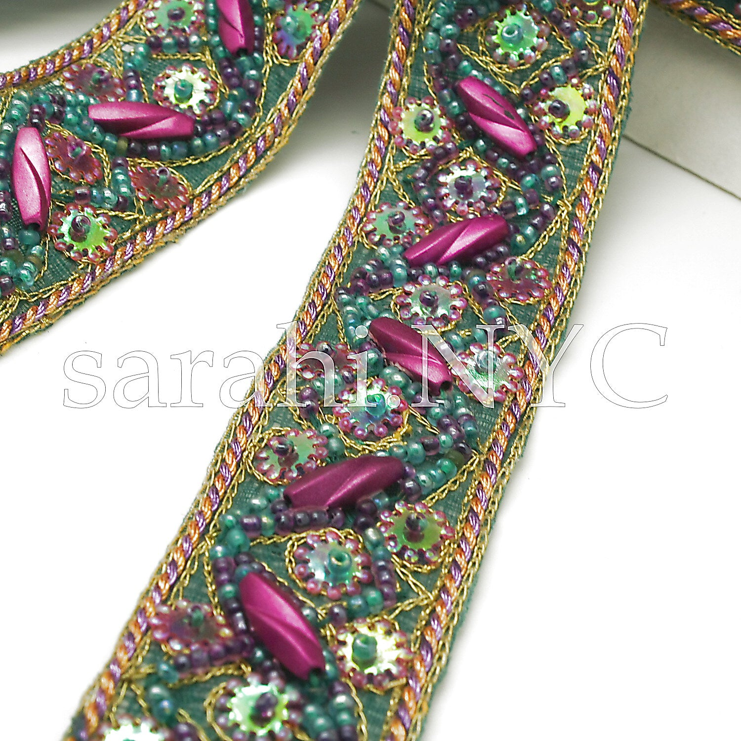 GREEN CERISE SEQUIN BEADED TRIM - sarahi.NYC - Sarahi.NYC