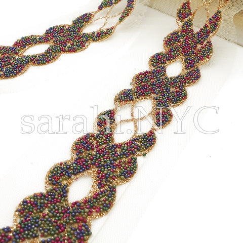 MULTI COLOR BEADED NET TRIM - sarahi.NYC - Sarahi.NYC