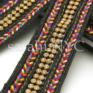 BLACK MULTI-COLOR CRYSTAL RIBBON TRIM - sarahi.NYC - Sarahi.NYC
