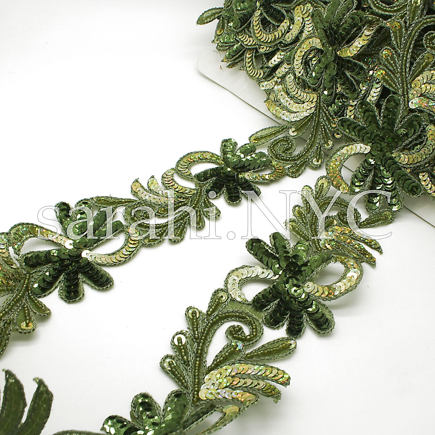 OLIVE GREEN FLORAL SEQUIN BEADED TRIM - sarahi.NYC - Sarahi.NYC