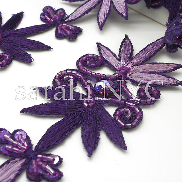 PURPLE LILAC FLORAL EMBROIDERY BEADED TRIM - sarahi.NYC - Sarahi.NYC