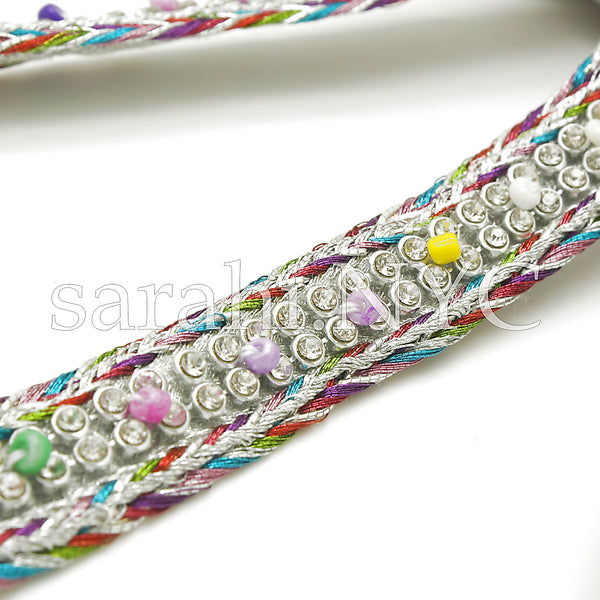 SILVER MULTI-COLOR WOVEN CRYSTAL TRIM - sarahi.NYC - Sarahi.NYC