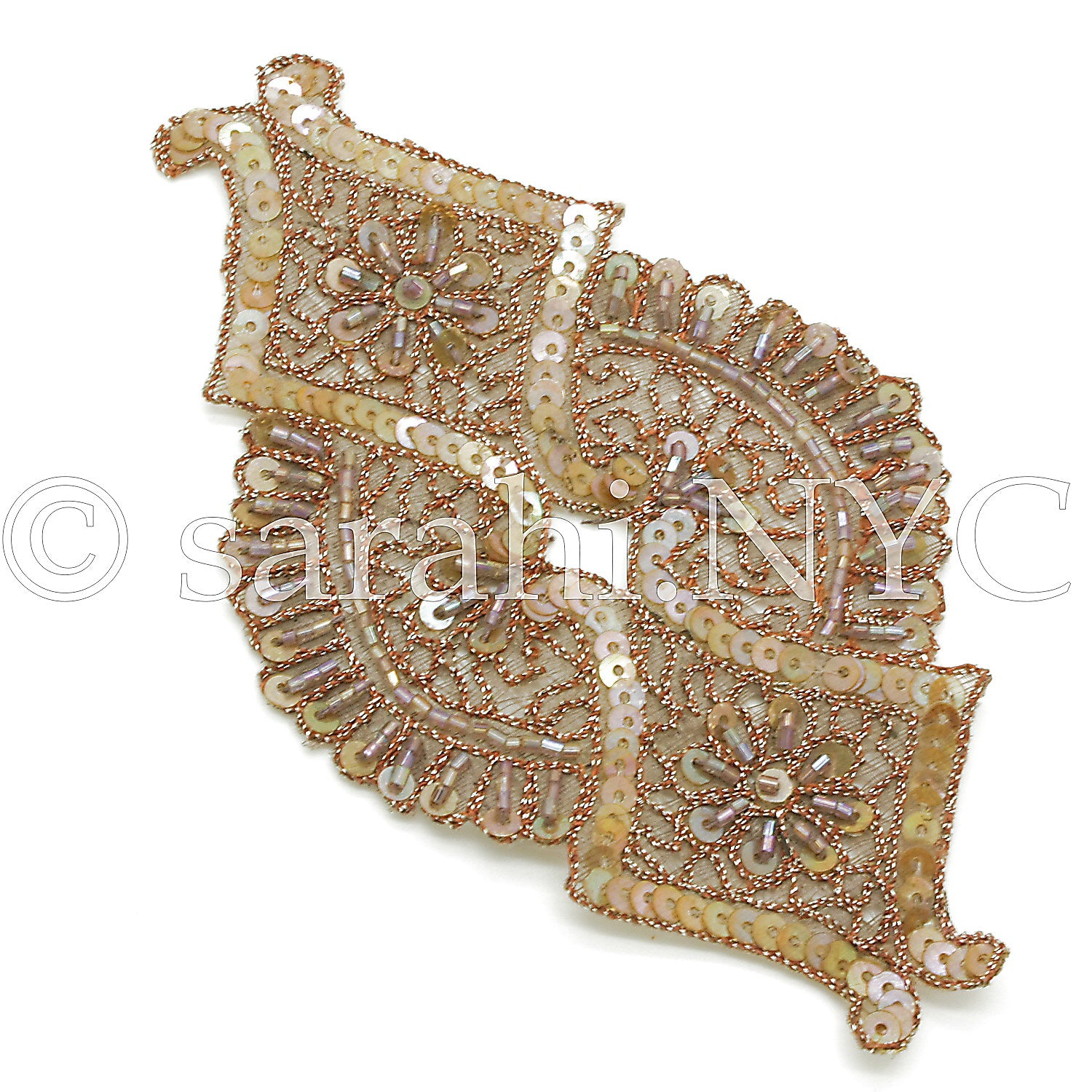 BEIGE BROWN EMBROIDERED SEQUIN APPLIQUE - sarahi.NYC - Sarahi.NYC