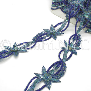 BLUE TURQUOISE FLORAL STAR BEADED TRIM - sarahi.NYC - Sarahi.NYC