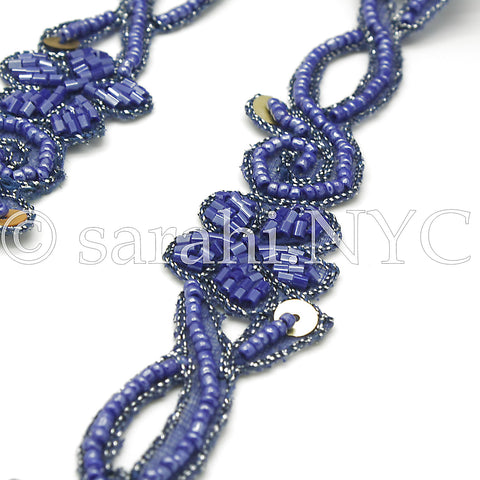BLUE FLORAL BEADED TRIM - sarahi.NYC - Sarahi.NYC