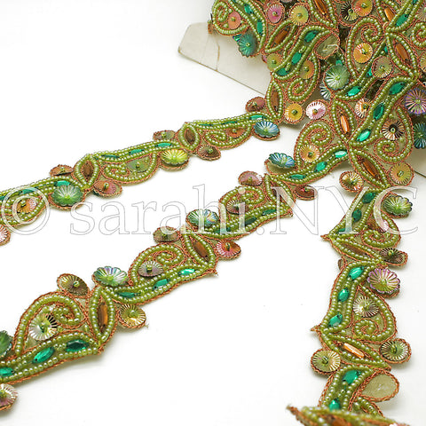 GREEN MERMAID RHINESTONE TRIM - sarahi.NYC - Sarahi.NYC