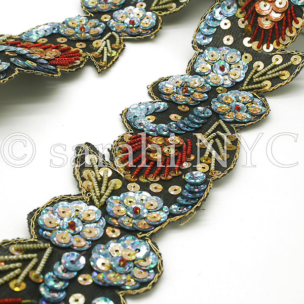 BLUE & RED FLORAL SEQUIN TRIM - sarahi.NYC - Sarahi.NYC