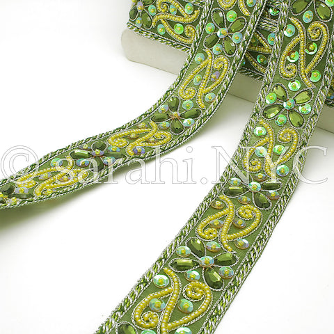 LIME GREEN RHINESTONE SEQUIN TRIM - sarahi.NYC - Sarahi.NYC