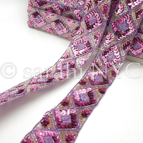 62 inches LILAC & PINK SEQUIN TRIM - sarahi.NYC - Sarahi.NYC