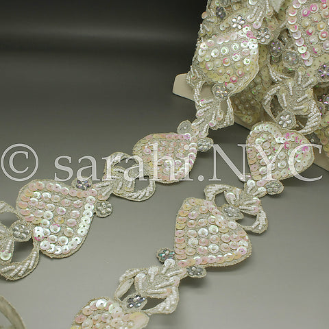 WHITE SEQUIN BEADED TRIM - sarahi.NYC - Sarahi.NYC