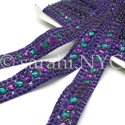 PURPLE GREEN RHINESTONE TRIM - sarahi.NYC - Sarahi.NYC