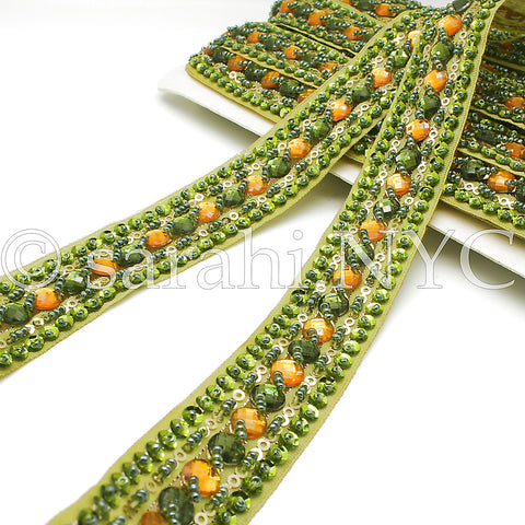LIME GREEN & ORANGE RHINESTONE TRIM - sarahi.NYC - Sarahi.NYC