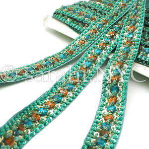 GREEN & ORANGE RHINESTONE TRIM - sarahi.NYC - Sarahi.NYC