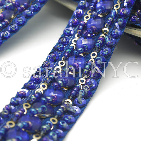 BLUE BEADED RHINESTONE TRIM - sarahi.NYC - Sarahi.NYC
