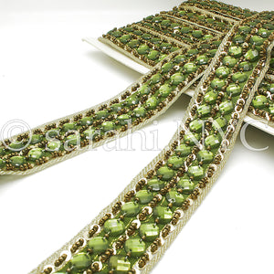 OLIVE GREEN GOLD BEADED RHINESTONE TRIM - sarahi.NYC - Sarahi.NYC