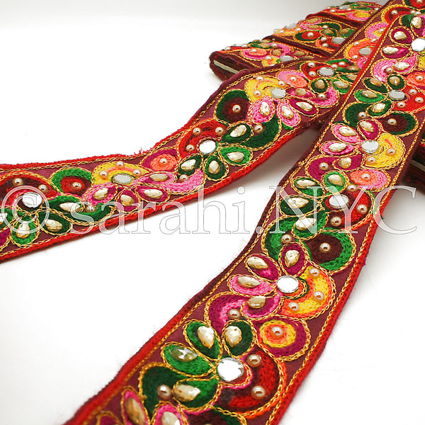 RED MULTI MIRROR RIBBON TRIM - sarahi.NYC - Sarahi.NYC