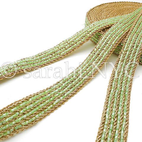 LIGHT GREEN GOLD BUGLE BEAD TRIM - sarahi.NYC - Sarahi.NYC