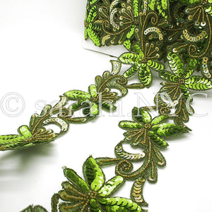 GREEN SEQUIN BEADED FLORAL FABRIC TRIM - sarahi.NYC - Sarahi.NYC