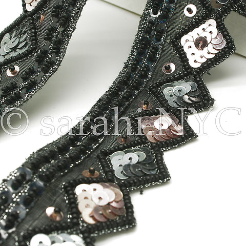 BLACK PINK ZIGZAG BEADED TRIM - sarahi.NYC - Sarahi.NYC