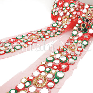 RED GREEN MIRROR NET FABRIC TRIM - sarahi.NYC - Sarahi.NYC