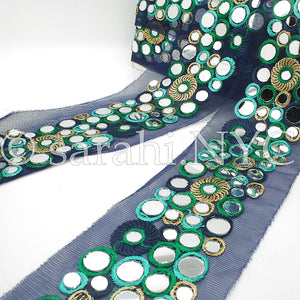 BLUE GREEN MIRROR NET FABRIC TRIM - sarahi.NYC - Sarahi.NYC
