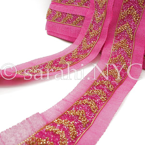 PINK GOLD BUGLE BEADED FABRIC TRIM - sarahi.NYC - Sarahi.NYC