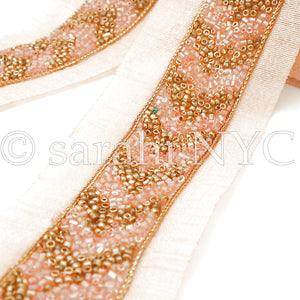 PEACH CORAL GOLD BUGLE BEADED FABRIC TRIM - sarahi.NYC - Sarahi.NYC