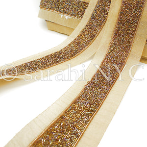 BRONZE GOLD BUGLE BEADED FABRIC TRIM - sarahi.NYC - Sarahi.NYC