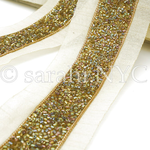 GREEN IRIDESCENT GOLD BUGLE BEADED FABRIC TRIM - sarahi.NYC - Sarahi.NYC