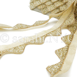 WHITE CREAM GOLD WAVE EDGING BUGLE BEADED FABRIC TRIM - sarahi.NYC - Sarahi.NYC