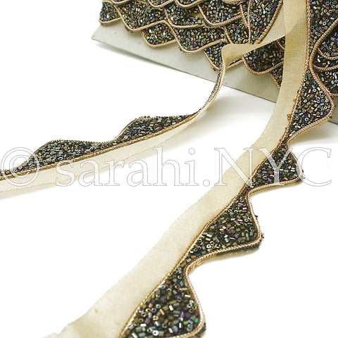 BLACK GOLD WAVE EDGING BUGLE BEADED FABRIC TRIM - sarahi.NYC - Sarahi.NYC