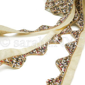 MULTI-COLOR WAVE EDGING BUGLE BEADED FABRIC TRIM - sarahi.NYC - Sarahi.NYC
