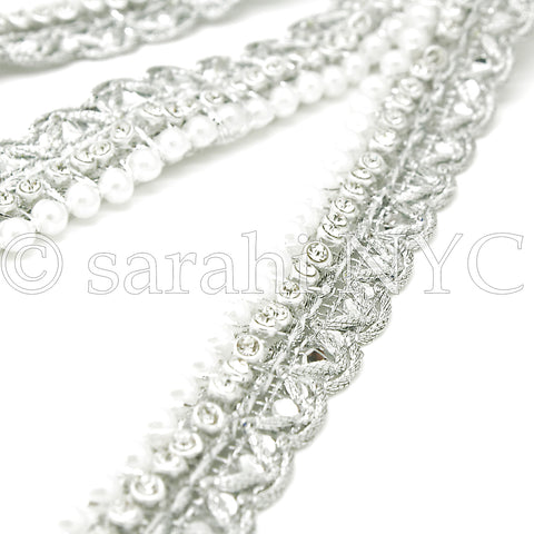 SILVER CRYSTAL PEARL EDGING FABRIC TRIM - sarahi.NYC - Sarahi.NYC