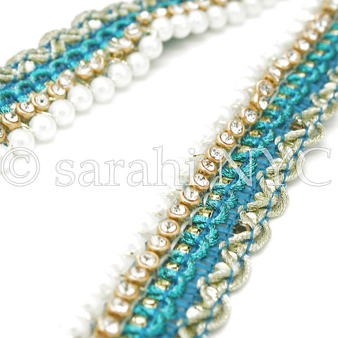 TURQUOISE CRYSTAL PEARL EDGING FABRIC TRIM - sarahi.NYC - Sarahi.NYC