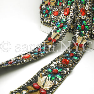 BLACK RED RHINESTONE FOREST  TRIM - sarahi.NYC - Sarahi.NYC