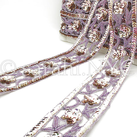 LILAC WIDE SEQUIN BEADED TRIM - sarahi.NYC - Sarahi.NYC
