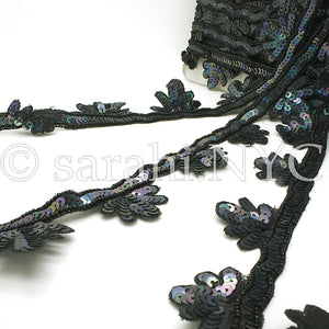 BLACK FLORAL EDGING BEADED TRIM - sarahi.NYC - Sarahi.NYC