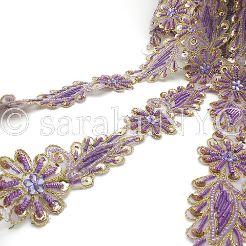 LILAC GOLD FLORAL BEADED TRIM - sarahi.NYC - Sarahi.NYC