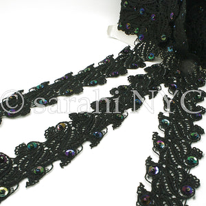 BLACK IRIDESCENT SEQUIN LACE  TRIM - sarahi.NYC - Sarahi.NYC