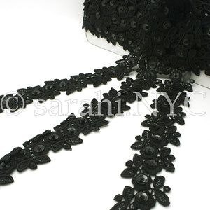 1 yard 26 inches - BLACK SEQUIN LACE  TRIM - sarahi.NYC - Sarahi.NYC