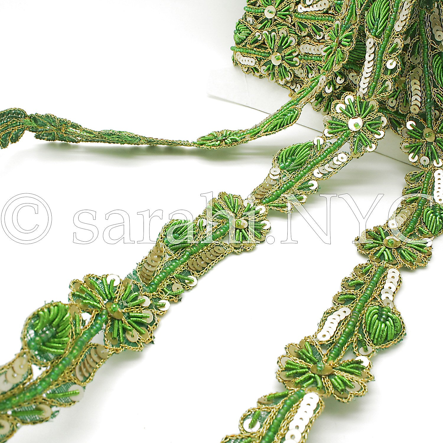 GREEN GOLD FLORAL BEADED SEQUIN TRIM - sarahi.NYC - Sarahi.NYC