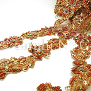 RUSTY ORANGE FLORAL RHINESTONE  TRIM - sarahi.NYC - Sarahi.NYC