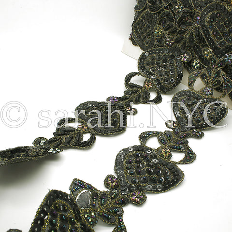 BLACK GOLD SEQUIN HEART BEADED TRIM - sarahi.NYC - Sarahi.NYC
