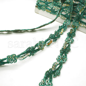 GREEN GOLD DELICATE EMBROIDERED SEQUIN TRIM - sarahi.NYC - Sarahi.NYC