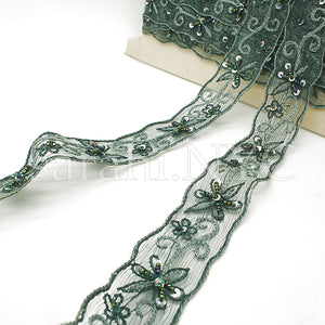 GREEN DELICATE EMBROIDERED SEQUIN TRIM - sarahi.NYC - Sarahi.NYC