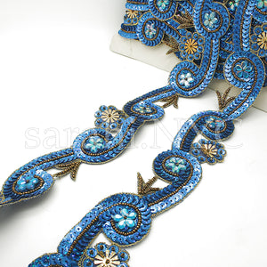 BLUE GOLD CIRCLE SWIRL SEQUIN TRIM - sarahi.NYC - Sarahi.NYC