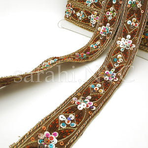 BROWN BEADED SEQUIN ETHNIC TRIM - sarahi.NYC - Sarahi.NYC
